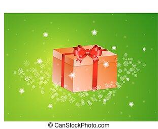 orange present with red ribbon