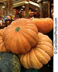 Orange pumpkin box in the market