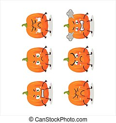 Orange pumpkin cartoon character with various angry expressions