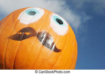 Orange pumpkin face.