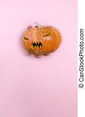 orange pumpkin in female's hand on pink background. woman's hand holding pumpkin.