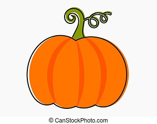 Orange pumpkin line cartoon icon.