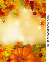 Orange Pumpkin on elegant gold bokeh. EPS 8 vector file...