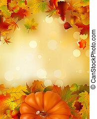 Orange Pumpkin on elegant gold bokeh. EPS 8 vector file...