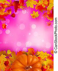 Orange Pumpkin on elegant pink bokeh. EPS 8