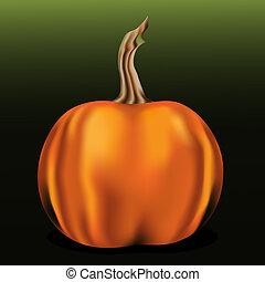 Orange pumpkin on green background