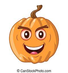 Orange pumpkin on white background. The Happy Halloween holiday.Vector illustration for design, postcards, banner.