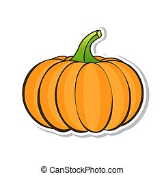 Orange pumpkin. Sticker isolated on white background. Vector illustration.