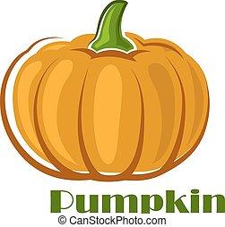 Orange pumpkin vegetable in cartoon style - Orange ripe...