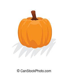 Orange pumpkin with cartoon style. Autumn halloween pumpkin, vegetable graphic icon. illustration Rasterized copy.
