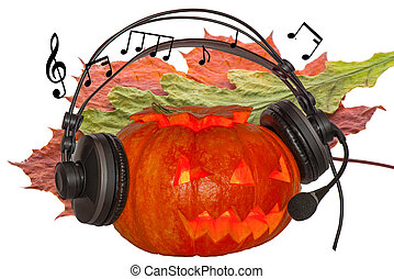 Orange pumpkin with glowing eyes celebrating Halloween day with music on a background of crimson maple leaf and withered oak leaf with notes