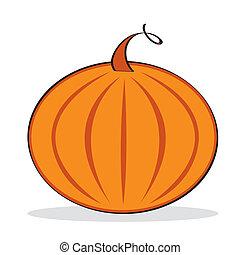 Orange pumpkin with grey shadow