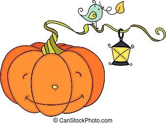 Orange pumpkin with vintage lamp and blue bird