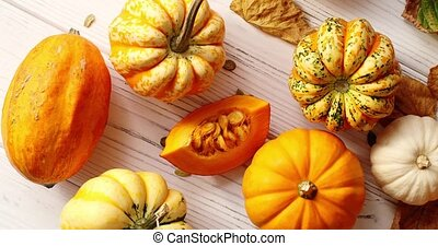 Orange pumpkins laid in disorder - From above view of orange...