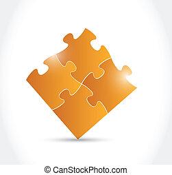 orange puzzle pieces illustration design