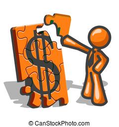 orange, puzzles, financier, homme