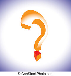 Orange question mark symbol in 3d representing concept of questioning, doubt, search, unknown, etc.