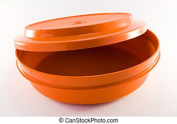 orange, récipient, plastique