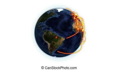 orange, réseau, la terre