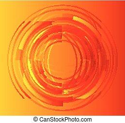 orange, résumé, cercle, fond
