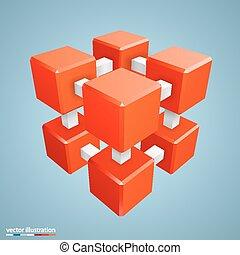 orange, résumé, cube, tridimensionnel