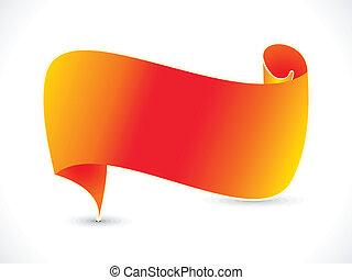 orange, résumé, ruban