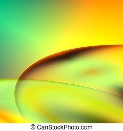 orange, résumé, vert, futuriste, fond