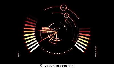 Orange radar screen against a black background