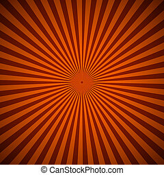 Orange radial rays abstract background, vector illustration