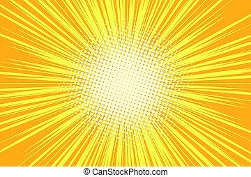 Orange rays pop art comic background. retro vector...
