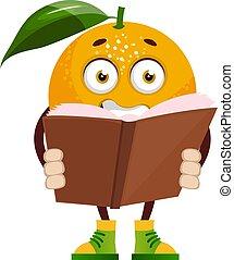 Orange reading book, illustration, vector on white background.