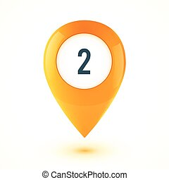 Orange realistic 3D vector glossy map point symbol