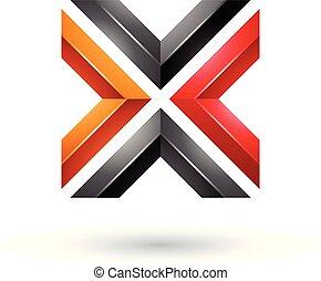 Orange Red and Black Square Shaped Letter X Vector Illustration