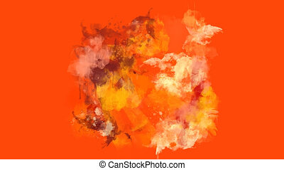 Orange, red and brown watercolor blot appears on the alpha...