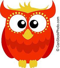 Orange red cartoon owl