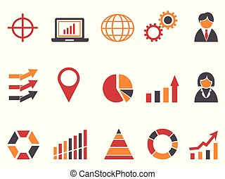 orange red color business infographic icons set