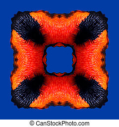 Orange red flame frame pattern isolated on the blue background