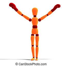 orange / red manikin is the winner