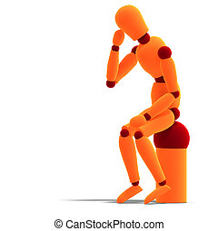 orange / red manikin thinking - 3D rendering of a orange /...