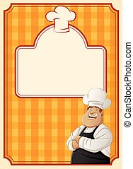 cartoon chef wearing apron and hat.