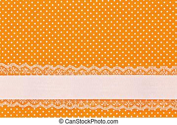 orange, retro, pois, textile, fond, à, ruban
