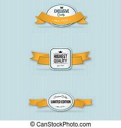 orange retro premium badges