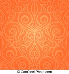 Orange Retro style colorful Floral mandala wallpaper background