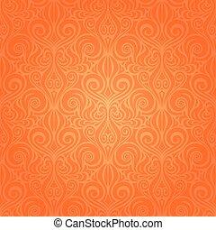 Orange Retro style colorful Floral repeatable wallpaper background