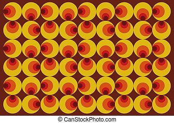 Ora,nge retro style pattern - 70s style. - Retro style...
