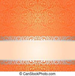 Orange Retro wallpaper background with copy space