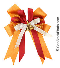 Orange ribbon and bow Isolated on white background with clipping path