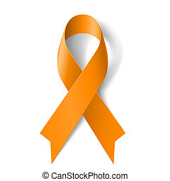 Orange ribbon as symbol of Animal Abuse, leukemia awareness,...