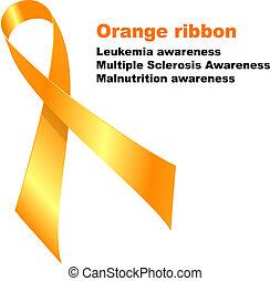 Orange ribbon. Leukemia awareness. Multiple Sclerosis...
