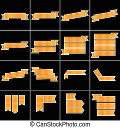 Orange ribbon icons set vector